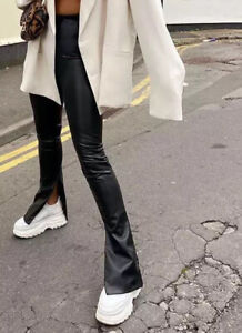 Black PU Faux Leather High Waisted Split Leg Flare Trousers Leggings UK STOCK