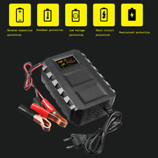Car Battery Lead Acid Charger Automobile Motorcycle 12V Intelligent LCD Display