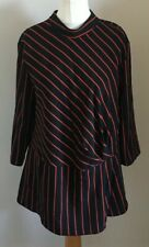 Peacocks Size 18 Ladies Black Top With Red Stripes, BNWT