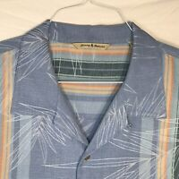 TOMMY BAHAMA Mens XL Hawaiian Shirt Silk Blue Striped Palm Leaf Pattern Camp