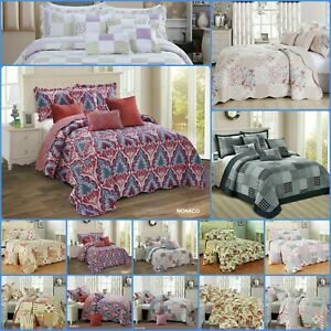 3PCs Patchwork Quilted Bedspread Luxury Comforter Bed Throw with Pillow Shams