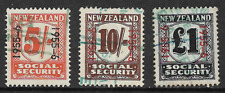 New Zealand 1945-51 Social Security Series Revenue Stamps 5/-, 10/- & £1 FU