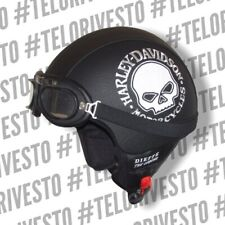 Casco Harley Davidson Ricamo the skull teschio logo Vintage in pelle s m l xl