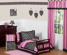 Jojo Designs Luxury Pink and Black Polka Dot Girl Toddler Kids Bedding Sheet Set