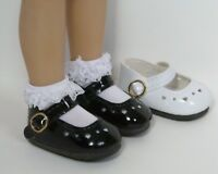 "BLACK Patent Heart CF Doll Shoes For Dianna Effner 13"" Little Darling (Debs)"