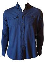 Camicia Collo Button Down Casual  Manica Lunga Uomo Blu Navy VINTAGE 55 Taglia S
