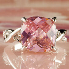 Luxury Pink & White Crystal Fashion Jewelry Women Gift Silver Ring Size 8