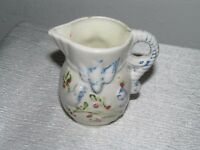 Vintage Small White Pottery Pitcher with Blue Birds on Berry Branch –