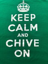 "THE CHIVE ""Keep Calm And Chive On"" Green T-Shirt Size L Bill Murray Large"