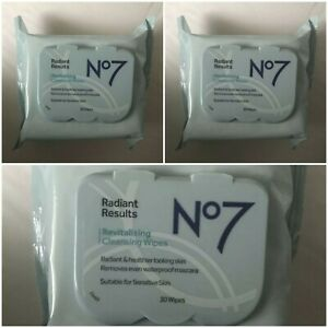 3x Boots No7 Radiant Results Revitalising Cleansing/Makeup Wipes, 30 Wipes Pack