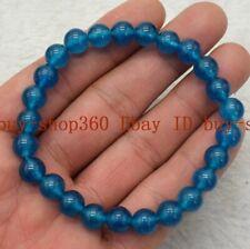 Round Beads Bracelet 7.5'' Aaa Natural 6/8/10/12mm Ink Blue Apatite Gemstone