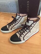 Gucci  Mens Trainer  GG Supreme High Top Cream Canvas Sneakers Shoes Uk10