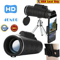 40X60 Zoom Optical HD Lens Monocular Telescope+ Tripod+ Clip For Smart Phone USA