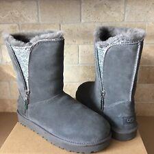 UGG Classic Short Zip Charcoal Grey Suede Sheepskin Glitter Boots Size 9 Women