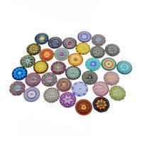 15-30pcs/Lot Colorful Bohemian Psychedelic Mandala Glass Cabochon Flatback Craft