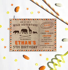 Safari Themed Birthday Party Invitations *Any Age* - pack of 10 with envelopes