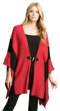 MICHAEL KORS PONCHO TOGGLE SWEATER CAPE STRIPE RED BLACK SIZE S/M SMALL MEDIUM