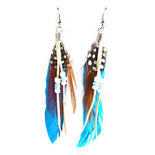 Pair Blue Feather Faux Bead Decor Fish Hook Earrings for Ladies HY