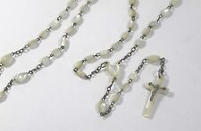 Antique Mother of Pearl Rosary Cross Catholic Religious