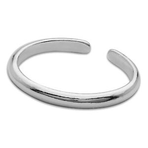 Sterling Silver Plain Toe Ring High Polished 925 Adjustable Beach Jewelry