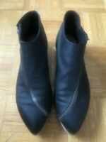 ACNE STUDIOS ZIXI ZIPPER BOOT BLACK LEATHER FLAT WITH PLATFORM SZ. 41/10
