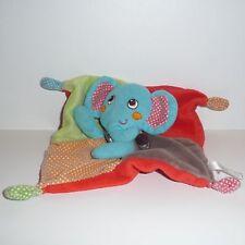 Doudou Eléphant Nicotoy - Bleu Rouge