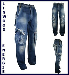 pantaloni jeans energie da uomo cargo con tasconi tasche laterali larghi w29 30