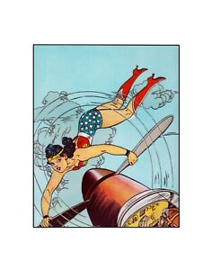 Wonder Woman Plane Crazy DC Comics Golden Age style sericel