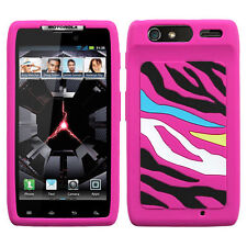 Motorola Droid RAZR XT912 - SOFT RUBBER SILICONE CASE HOT PINK BLACK WHITE ZEBRA