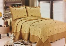 3 Pc Gold Quilt Floral Embroidery Bedspread Size Queen Coverlet Bedding SetInBag