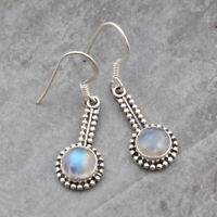 Rainbow Moonstone Gemstone Ethnic Earrings 925 Sterling Silver Jewelry