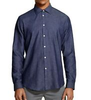 DKNY Mens Shirt Maritime Blue Size XL Chambray Classic Fit Button Down $79 320