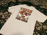 Vintage UT Texas LONGHORNS Top Of The Food Chain Large Print T-Shirt • Size XL