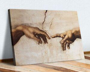 CANVAS WALL ART Michaelangelo Creation of Adam HANDS 30MM DEEP FRAMED PRINT