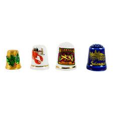 4 Thimbles (lot) Ceramic Metal Christmas Main Advertisement (Vernon & MSR)