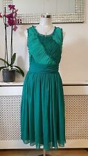 Dorothy Perkins Emerald Green Sheer Silky Ruched Shabby Chic Dress Size 14 BNWT
