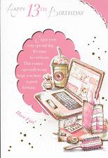 Felice 13TH compleanno carta, Rosa Laptop TEMA, BELLA strofa, 9 x 6 pollici (B5)