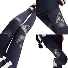 Leggings grietas Lace góticos punta vomite ocio casual punk fitness XS S M