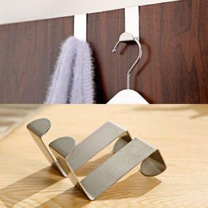 2 X Stainless Steel Metal Over Door Hooks for Clothes Coat Robe Hanger Hanging