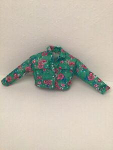 New BARBIE EXTRA DOLL #10 GREEN AND PINF FLORAL PRINT JEAN JACKET Fits curvy dol