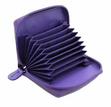 Ladies Full Zip Around Leather Concertina Credit Card holder Coin Purse Purple