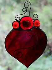' LOVE HEART ' Real Stained Glass SUNCATCHER Blood Red Romantic Bedroom Gifts