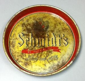 Schmidt's beer serving tray ale Philadelphia vintage brewery serving metal DW9
