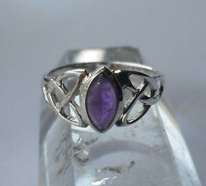 523 Amethyst Celtic Triquetra Solid 925 Sterling Silver Ring sz N/Q/T rrp$49.95