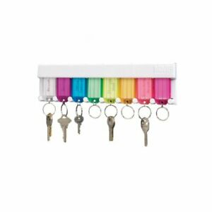 STEELMASTER 8-Tag Multi-Colored Key Rack 12 x 6.2 x 0.7 Inches White 201400847
