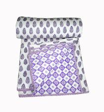 Indian Handmade Indigo Print kantha Quilt Vintage Kantha Throw Cotton Blanket