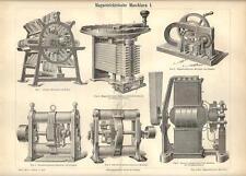 Stampa antica MACCHINE ELETTROMAGNETICHE Tav.1 meccanica 1890 Old antique print