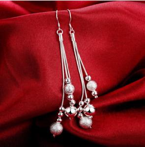 Boucles d'Oreilles Longues Boules Mat et Brillant Plaqué Argent - Bijoux des Lys