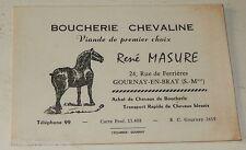 Ancienne CARTE de VISITE BOUCHERIE CHEVALINE René MASURE - GOURNAY-en-BRAY