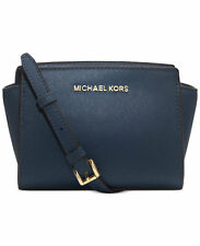 NWT $178 Michael Kors Selma Mini Leather Messenger Crossbody! Navy